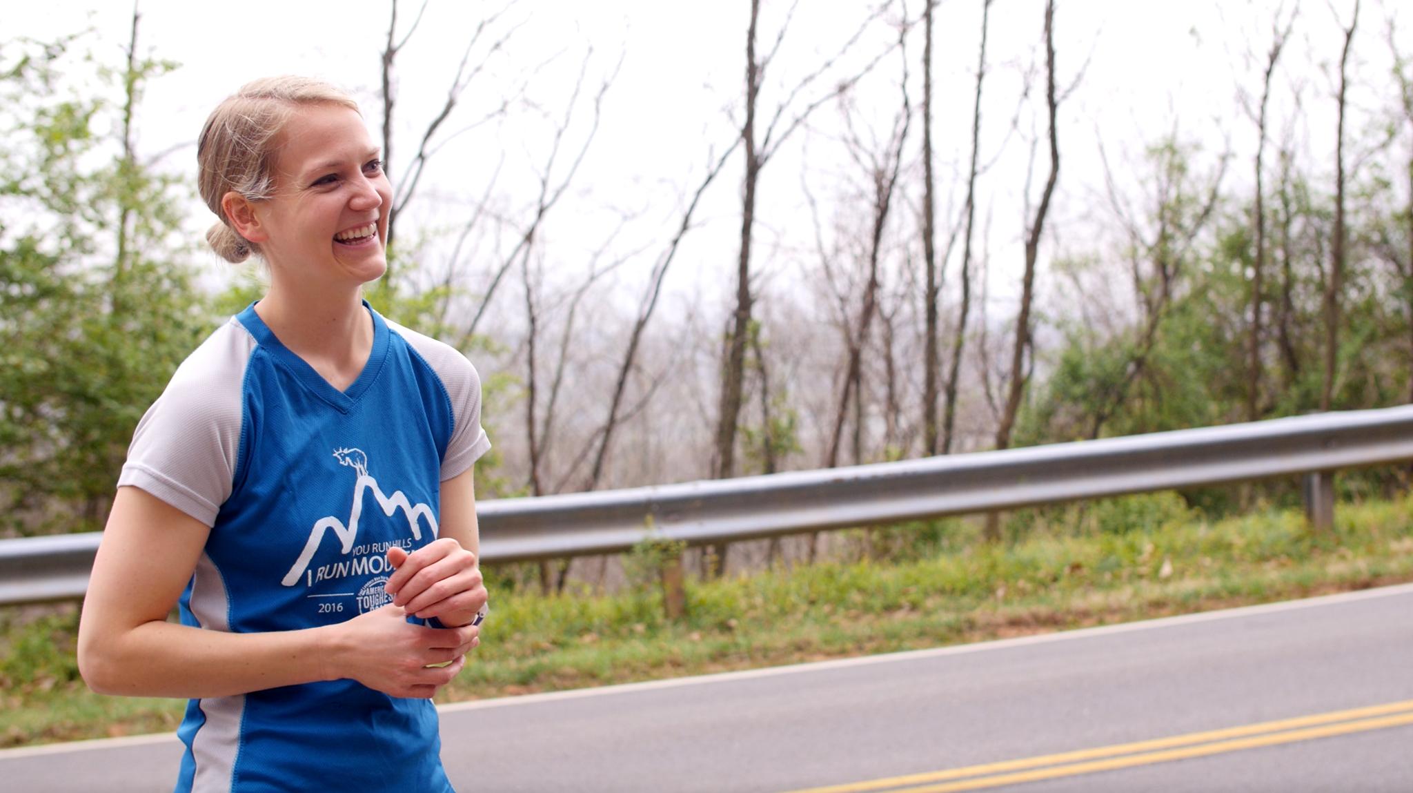 Abby training for the Blue Ridge Marathon