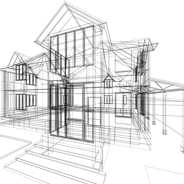 CAD drawing of house