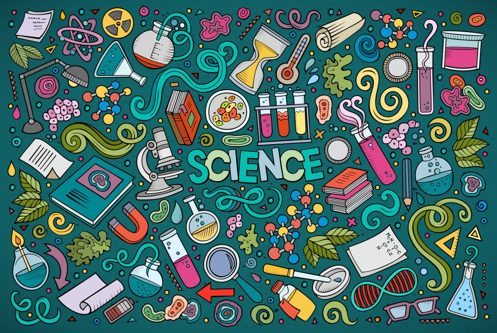 science simple cartoon know quiz subjects illustration nature natural questions theme doodle concepts objects vector medical nerdy answers network question