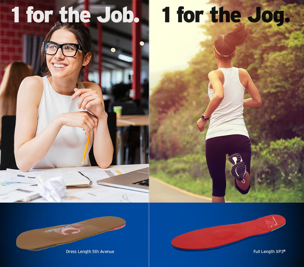 Orthotics for work and orthotics for play.